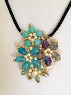 Spring flower handmade beaded wired one of a kind blue by fatash1