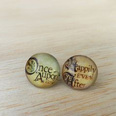 Stud Earrings, Post Earrings, Once Upon a Time, Round Earrings, Renaissance Style, Happily Ever After, Word Jewelry, Fairy Tale Earrings. $18.00, via Etsy.