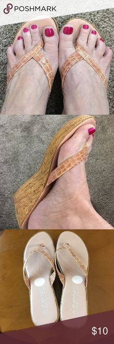 """BLUSH/PINK SLIP-ON WEDGE SANDALS SZ. 8 Very nice Condition! Made in Italy and All man made materials. 2.5"""" Cork heels. Stickers peeled off a little of the material. Will not show when worn. A. Giannetti Shoes Sandals"""