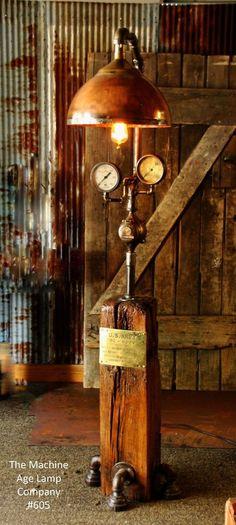 Steampunk Lamp Industrial Machine Steam Gauge Light Train Nautical Engine Loft