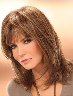Jacklyn Smith Mature and Beautiful Mid-length Layered Straight Human Hair Wig 14 Inches