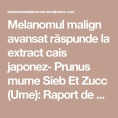 Melanomul malign avansat răspunde la extract cais japonez-Prunus mumeSieb Et Zucc (Ume): Raport de caz și studiuin vitro | TRATAMENTE CANCER EFICIENTE, NON - toxice
