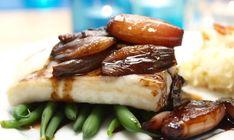 Ovnsbakt torsk med balsamicoløk og sellerirotmos   TRINES MATBLOGG