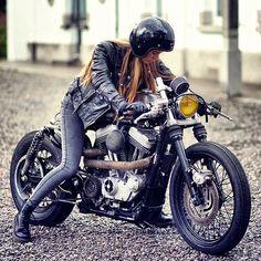 Biker girl on cafe racer Badass Motorcycle Helmets, Cool Motorcycles, Motorcycle Girls, Classic Motorcycle, Motorcycle Garage, Motorcycle Outfit, Vintage Motorcycles, Motorcycle Accessories, Cafe Racer Girl