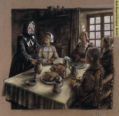 """""""Catherine Crolo and the Filles du Roy (King's Ward) at the farm"""" Illustration: Francis Back. Canadian History, Red River, Canada Travel, First Nations, Native American Indians, Ancestry, Family History, France 2, Oeuvres"""