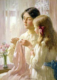 English Painter:  William Kay Blacklock (1872 – 1922)  --  'The Lesson'