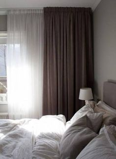double curtain, lots of comforter and blanket, soft pillow, grey colour design Grey Bedroom With Pop Of Color, Interior, Home Decor Bedroom, Home Bedroom, Luxurious Bedrooms, Home Decor, Modern Bedroom, Simple Bedroom, Interior Design
