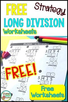 You'll love these FREE long division differentiated worksheets! They'll help students visualize the steps of the long division algorithm. Easily scaffold the long division to fit the needs of your students. Great for grade, grade students, and spec Long Division Activities, Teaching Long Division, Long Division Worksheets, Math Division, Teaching Math, Long Division Strategies, Long Division Game, Kindergarten Math, Long Division Steps