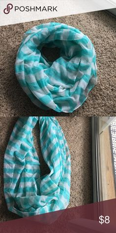 Teal and white infinity scarf Teal and white striped infinity loop scarf Accessories Scarves & Wraps