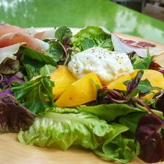 #tgkingst Today we have a fresh summer salad with House cured coppa, Lomo, Burrata, white wine and vanilla poached o'henry peaches, fresh herbs and baby greens. #eatstagram #yumstagram #fresh #sfwine #decadent #eatfresh #homesweethome #california #farmtofork #farmtotable #local #goodeats #foodie #grubbin #yelp #sf #soma #special #lunch