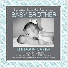 Boy Photo Birth Announcements Sibling Stripes: Teal - Front : Powder Blue