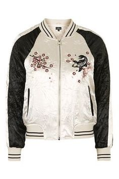 Contrast Embroidered Bomber Jacket