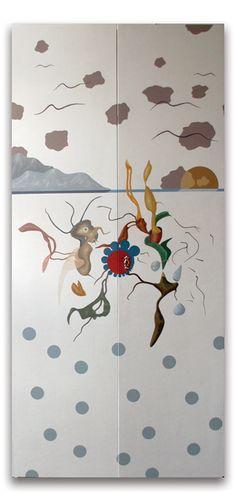 2002- senza titolo- armadio dipinto, ad acrilici,  cm 183x86