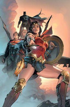 DC Comics Wonder Woman, Superman, and Batman Arte Dc Comics, Marvel Comics, Dc Comics Art, Gotham Comics, Comic Book Characters, Comic Book Heroes, Comic Books Art, Comic Art, Batman Et Superman