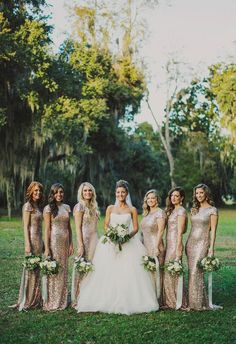 Bridesmaids in gold sequined gowns