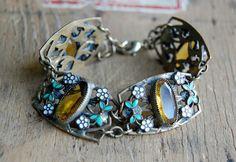 vintage Czech bracelet / 1920s jewelry / ORANGIER
