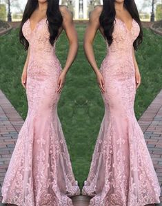 Stunning Pink V neck Appliques Lace Formal Evening Dress, Pink Mermaid Long Prom Dress, Women Dress  by fancygirldress, $166.50 USD