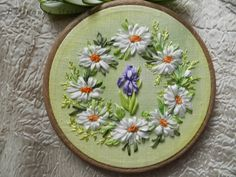 Iris and daisies reef #ribbonEmbroidery