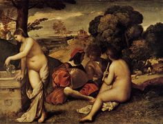TITIAN: The Pastoral Concert, c.1509. Oil on canvas, 1.05 m x 1.37 m, Louvre, Paris. Traditionally attributed to Giorgione, The Pastoral Concert is now considered a work from Titian's youth. It is meant to be an allegory of Poetry, whose symbols - the flute and the pouring water - are shared between two nude women of ideal beauty. LINK to the Louvre to read more.