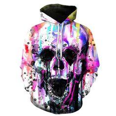 3D Printed Colorful Skull Painting Unisex Sweatshirt //Price: $39.45 & FREE Shipping //     #yellowmonkeyclothing
