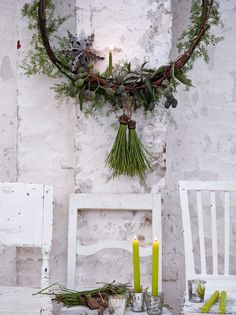 """O asparagus tree"" - Melchior Franck. Wrap wreath ring with green ribbon & asparagus fern. Attach a ring of eucalyptus branches. Wrap pine needles with wire & gold braid for tassels."