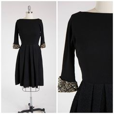 Vintage 1950s Dress • Woven Shade • Black Wool Jersey 50s Dress with Sequin Cuffs Size Small