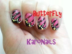Butterfly Monarch nail art by KaroNails