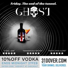 The one they're all talking about 👻🍸📽 10% off #GhostVodka with @31dover until midnight on Monday with code VOD10F3 ! #weekend #drinks #friday #fridayfeeling #vodka #delivered #drinkstagram #cocktails #bottleservice #bottlesondeck #mixology #ghost #unionjack #skull #bottle #vip #exclusive