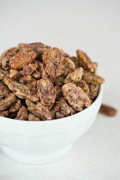 An incredibly easy recipe for Cinnamon-Sugar Candied Pecans, perfect for holiday snacking or gift-giving! Pecan Recipes, Candy Recipes, Holiday Recipes, Dog Food Recipes, Snack Recipes, Dessert Recipes, Cooking Recipes, Snacks, Recipe Treats