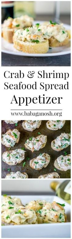 Make this super delicious Seafood Spread Appetizer to serve over crusty baguette. Make this super delicious Seafood Spread Appetizer to serve over crusty baguettes. This will become everyone's favorite party food! Seafood Appetizers, Finger Food Appetizers, Seafood Dishes, Yummy Appetizers, Appetizers For Party, Seafood Recipes, Appetizer Recipes, Cooking Recipes, Appetizer Dips