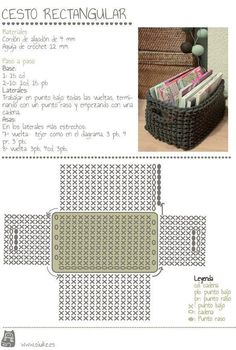 maybe a matching crocheted storage basket (from zpagetti type tshirt yarn) to match a grey crochet bath mat . Crochet Storage, Crochet Box, Crochet Diagram, Crochet Purses, Love Crochet, Crochet Crafts, Crochet Projects, Diy Storage, Single Crochet