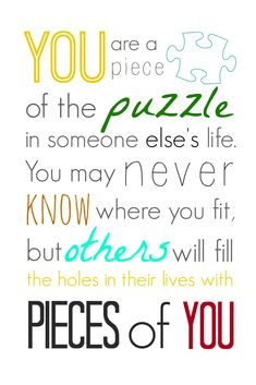 You are a Piece of the Puzzle Printable