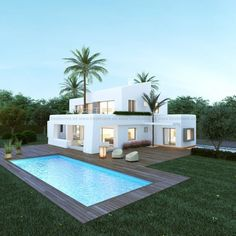 Modern Villas for sale Backyard Pool Designs, Swimming Pool Designs, Casas Containers, House Goals, Modern House Design, Exterior Design, Future House, Building A House, Architecture Design