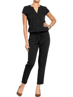 Women's Short-Sleeved Jumpsuits Product Image