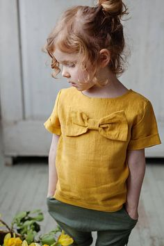 Flower girl shirt, Mustard baby tunic, Baby girl clothes, Linen girl blouse, Linen girl tunic, Organic baby clothes, 1st birthday outfit
