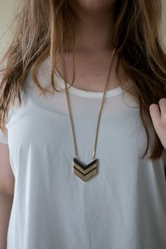 Stitch Fix February 2015 Review  - Genevieve Stacked Chevron Pendant Necklace, Dark Grey / hellorigby seattle fashion and lifestyle blog