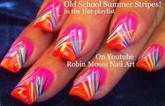 Robin Moses Nail Art: Neon Striped Nail Art Design Tutorial up ...