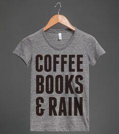 Coffee Books & Rain | Athletic T-shirt | Front