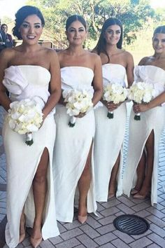 Sheath Strapless Floor-Length White Bridesmaid Dress with Split Bowknot White Bridesmaid Dresses Long, Off Shoulder Bridesmaid Dress, Wedding Dresses, Lace Evening Dresses, Famous Brands, Dream Dress, Dress Making, Bodice, Strapless Dress