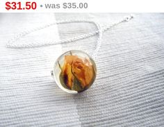 ON SALE 10 % Rose necklace resin jewelry flower by FlyForSevenSky