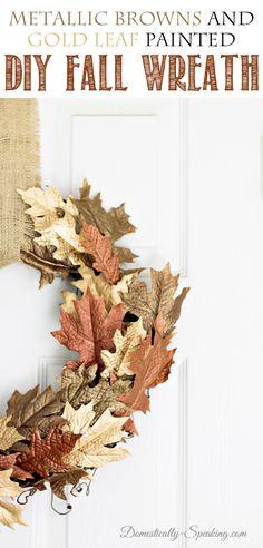 DIY Fall Metallic Brown and Gold Leaf Wreath Tutorial