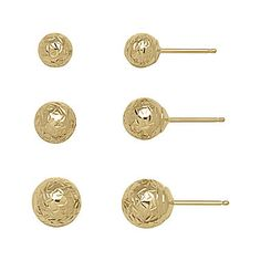 jcp | 14K Yellow Gold Textured 3-pr. Ball Stud Earring Set. #Earrings #JcPenney x #MIGM #Karat #Gold #Jewelry
