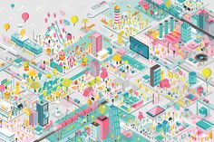 The way I visualize the ideal city where many kinds of people from different backgrounds and lifestyles all live together peacefully in a happy, colorful way.Featured on AAD Outstanding Illustration Artists in Asia 2016 Publication. Axonometric Drawing, Isometric Drawing, Isometric Design, Architecture Concept Diagram, Architecture Drawings, Rendering Architecture, Architecture Diagrams, Architecture Portfolio, Gothic Architecture