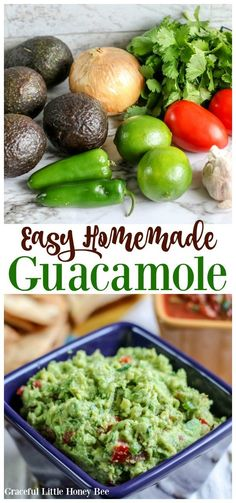 Easy Homemade Guacamole – Graceful Little Honey Bee July 2019 by Missy Rakes Leave a Comment Make this Easy Homemade Guacamole using only fresh ingredients that everyone is sure to love! This post contains affiliate links. Mexican Food Recipes, Vegetarian Recipes, Healthy Recipes, Ethnic Recipes, Delicious Recipes, Spanish Recipes, Mexican Dishes, Sweets Recipes, Dip Recipes
