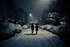 Romantic walk in the snow...