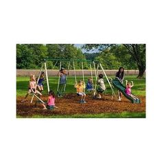 Backyard Swing Set Slide Kids Playground  Outdoor Swingset Seesaw Fun Playset