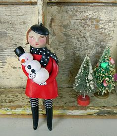French cap girl with Snowman