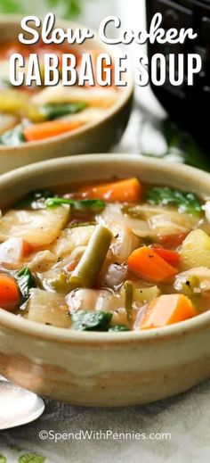 This easy Slow Cooker Cabbage Soup recipe has loads of fresh vegetables and of course cabbage all simmered in a delicious broth its vibrant healthy and totally delicious! - Slow Cooker - Ideas of Slow Cooker Easy Cabbage Soup, Cabbage Soup Recipes, Vegetable Crockpot Recipes, Crockpot Cabbage Recipes, Salad Recipes, Healthy Crockpot Recipes, Slow Cooker Recipes, Cooking Recipes, Slow Cooker Huhn