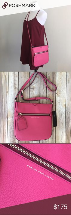 "Pink leather Marc by Marc Jacobs crossbody purse Leather Marc by Marc Jacobs leather crossbody purse - Single adjustable crossbody strap - Zip top closure - Exterior features 1 zip pocket and 1 ID tag detail  Condition: NWT, Dust bag included Brand: Marc by Marc Jacobs Color: Pink (Begonia) Measurements: 10"" H x 10"" W x 1.5"" D, 19-24"" strap drop Materials: Leather exterior, textile lining  No holds, PayPal, or trades. Bundle to save💸. Will consider offers. Marc by Marc Jacobs Bags Crossbody…"