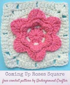 Free crochet pattern: Coming Up Roses Square in Red Heart With Love by Underground Crafter | This square features a simple rose pattern at the center. It's one of two squares used in the Picking Flowers Pillow. via @ucrafter